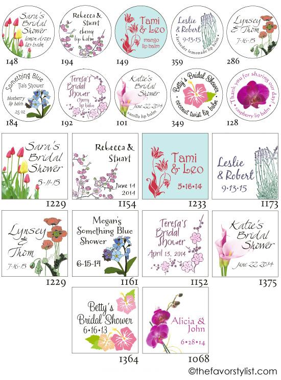 floral theme tags labels