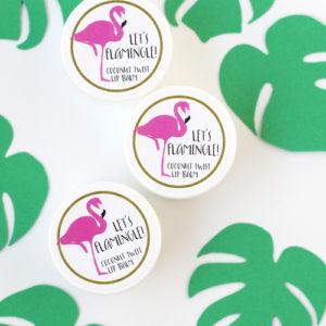 flamingo lip balm favors