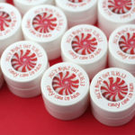 Holiday party favors lip balm with custom labels