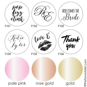bridal favor with foil labels