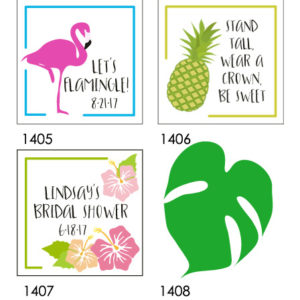flamingo pineapple hibiscus monstera tags