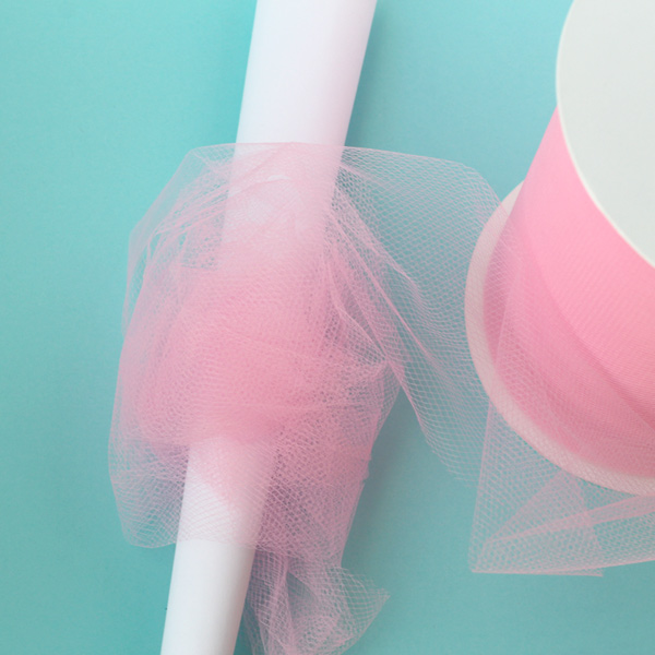wrap tulle around cone for tulle cotton candy