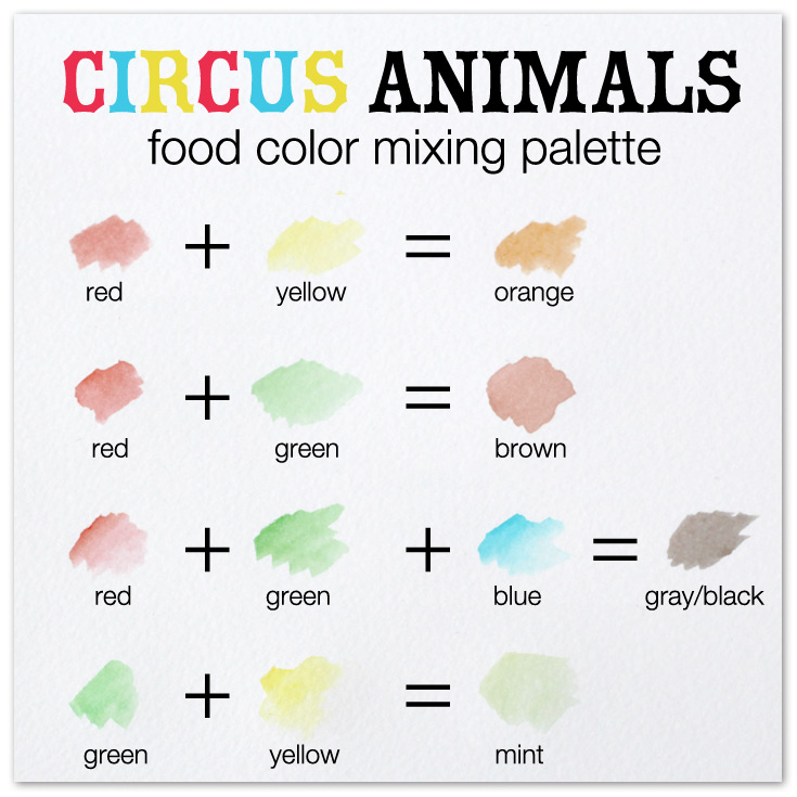 food color palette for circus party animals