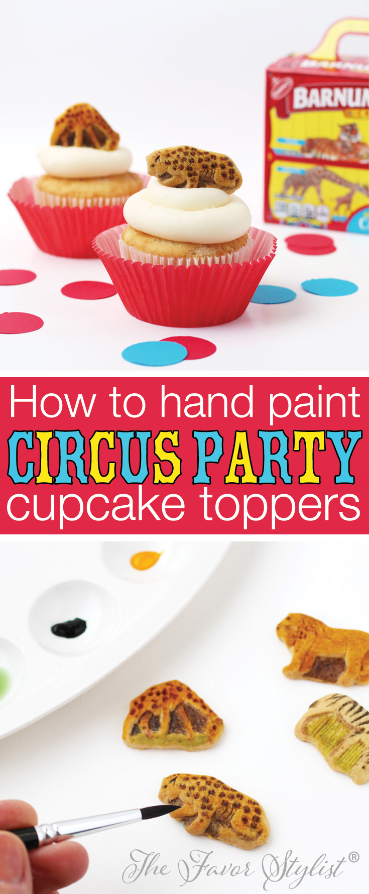 How to hand paint circus party cupcake toppers