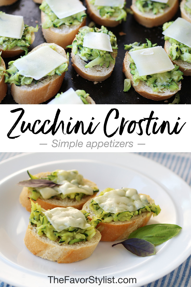 For a delicious veggie-based hors d'oeuvre at your next bridal shower or girls' night, try these simple zucchini crostini!