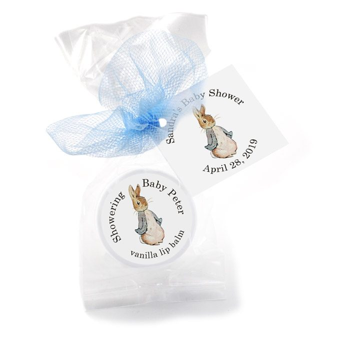 baby shower favors ideas peter rabbit lip balms