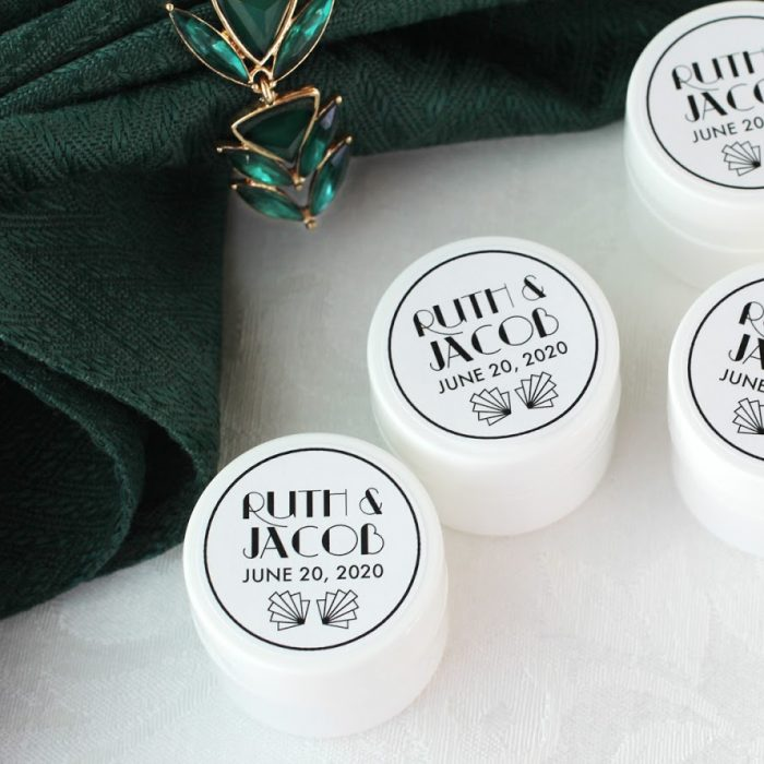 art deco lip balm favors