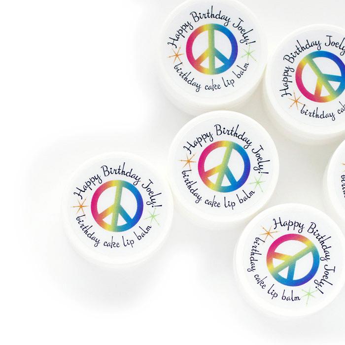 peace & rainbows party favor lip balms