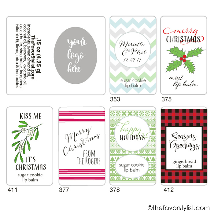 holiday lip balm labels