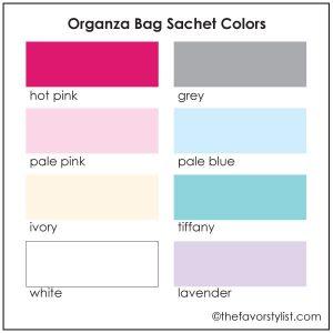 organza sachet color chart