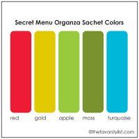 secret menu organza sachet colors