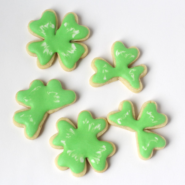 green clover cookies made with heart cutter