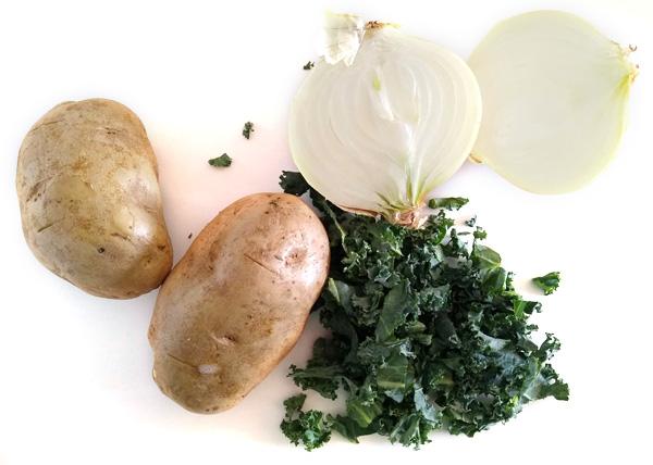 potatoes, onions, and kale